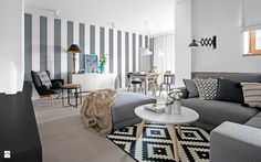Biały szary czarny - zdjęcie od DOMagała Design - Salon - Styl Skandynawski…