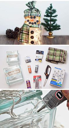 How to Make a Lighted Glass Block Snowman | Click Pic for 22 DIY Glass Craft Ideas for the Home | Easy Crafts to Make and Sell