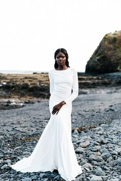One Day Bridal 2015 Wedding Dresses - Trendy Bride Magazine - long sleeve wedding gown from One Day Bridal 2015 Collection www. Australian Wedding Dresses, Modest Wedding Dresses, Trendy Dresses, Bridal Dresses, Minimal Wedding Dress, Chic Wedding, Trendy Wedding, Bridal 2015, One Day Bridal