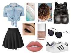 """Party night"" by diana-gheatau on Polyvore featuring GUESS, adidas, Valentino, Gray Malin, Lime Crime and Nails Inc."