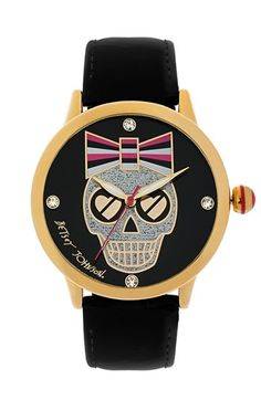 Betsey Johnson Skull Dial Patent Leather Strap Watch, 41mm available at #Nordstrom