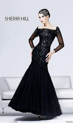 Long Sleeve Black Evening Gown by Sherri Hill 2805