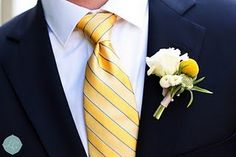 Yellow striped tie with small blue stripes