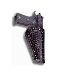 Custom leather gun holster designed for a 1911 auto pistol.