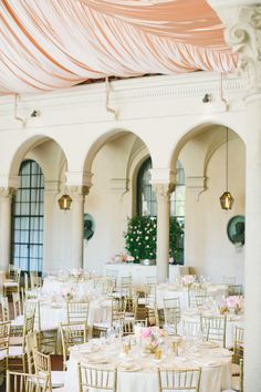 Draped Elegance | See the wedding on Style Me Pretty: http://www.StyleMePretty.com/california-weddings/2014/02/20/blush-pink-wedding-at-the-athenaeum/ onelove photography