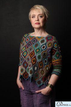New Ideas Crochet Sweater Dress Pattern Granny Squares Débardeurs Au Crochet, Pull Crochet, Gilet Crochet, Freeform Crochet, Crochet Woman, Crochet Cardigan, Crochet Granny, Crochet Stitch, Blanket Crochet