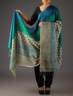 Buy Beige Blue Tussar Silk Geometric Discharge Printed Dupatta Accessories Dupattas Craft Mélange Block Kurta Sets and Online at Jaypore.com
