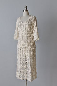 Vintage Crochet Dress / 1970s Crocheted by TheVintageMistress