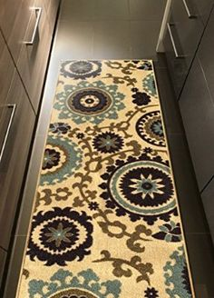 Rubber Backed X Floral Swirl Medallion Beige Multicolor Runner Non Slip Rug    Rana Collection Kitchen Dining Living Hallway Bathroom Pet Entry Rugs