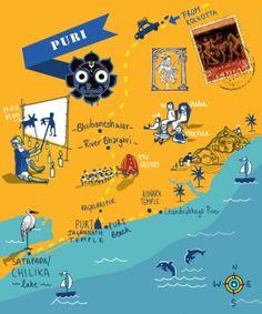 Illustrated Map of Puri, Odisha State, India by Samia Singh
