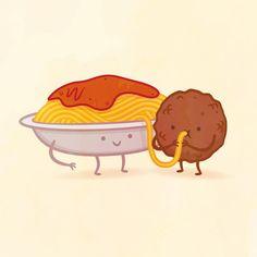 Espaguetis y albóndiga de Philip Tseng