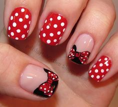Minnie Mouse - polish by  Sally Hansen Insta Dri Rapid Red, China Glaze Innocence, Wet N Wild Black Creme, Sinful Colors Snow Me White, a nail art brush, a dotting tool, and Konad plate m59 for the bow.