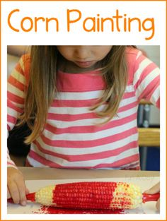 Painting with corn is a great process art activity for a preschool farm theme! Corn painting would work well in kindergarten and homeschools, as well. Thanksgiving Preschool, Fall Preschool, Preschool Projects, Preschool Lessons, Preschool Farm Theme, Farm Theme Classroom, October Preschool Themes, Preschool Readiness, Farm Animals Preschool