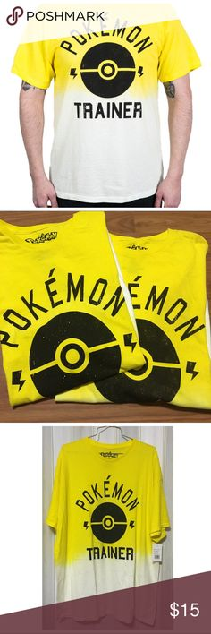 Pokemon Trainer Tee Pokemon Trainer T-Shirt with the Pokeball logo, in yellow to white ombré. Yellow for Team instinct (thanks @gloriahutson88 for the info). Licensed Pokemon apparel by Nintendo, not from Hot Topic. Material: 100% cotton. This is a men's size Xlarge, but can be unisex for women as well. Brand new with tags. Questions welcomed. Price is for one shirt, currently have sizes: XL and 2XL. Hot Topic Shirts Tees - Short Sleeve
