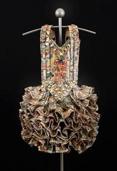 Mixed Media & Paper Dress Sculpture made from wonder woman comics - art exploring gender roles & the cultural symbolism of clothing // Donna Rosenthal
