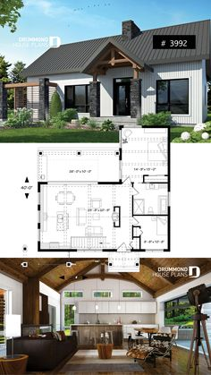 Cape Cod house plan, bungalow, cathedral ceiling w/exposed wood beams, open floor plan, outdoor kitchen Bungalow Haus Design, Bungalow House Plans, Craftsman House Plans, Modern House Plans, Small House Plans, House Design, Cabin Design, One Level House Plans, Split Level Floor Plans