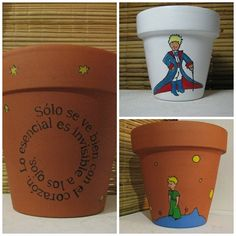 macetas cuadradas pintadas - Buscar con Google Yard Art Crafts, Diy And Crafts, Paint Garden Pots, Painted Flower Pots, The Little Prince, Pottery Painting, Clay Pots, Flower Making, Planter Pots