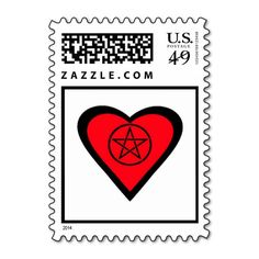 Wiccan Pagan Heart Valentines Postage Stamps by www.cheekywitch.com #zazzle #witch #wicca #wiccan #pagan #postage #postagestamps #snailmail #mail #pentacle #pentagram #redheart #valentinesday #cheekywitch