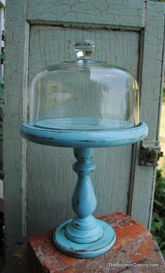 Glass Cloche Upcycled Dessert Appetizer Pedestal Shabby Beach Distressed Turquoise Blue