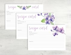 Purple Recipe Card Printable, Recipe Card Printable, 4x6 Recipe Card, Printable Recipe Card, Recipe Card Instant Download, Recipe Card PDF by MathisDesigns on Etsy