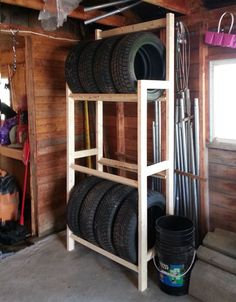 Cheap and Easy to Build Tire Rack – Garage Organization DIY