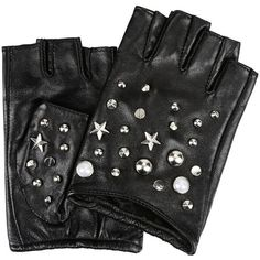 Karl Lagerfeld K/Studs Fingerless Glove ($120) ❤ liked on Polyvore featuring accessories, gloves, перчатки, black, real leather gloves, karl lagerfeld, studded gloves, leather gloves and karl lagerfeld gloves