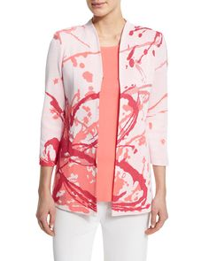 Paint Splatter 3/4-Sleeve Jacket, White/Coral/Pink - Misook