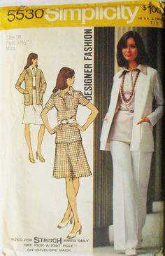 1970s Vintage Sewing Pattern Simplicity 5530 Misses Cardigan, Blouse, Skirt & Pants Pattern Size 10 Uncut by SewYesterdayPatterns on Etsy