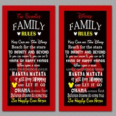 A personal favorite from my Etsy shop https://www.etsy.com/listing/268680797/disney-family-rules-print-10x20
