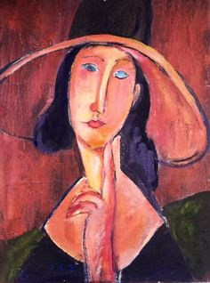 Woman in the large Hat: originally by the Italian Artist Modigliani in 1910. He was famous for portraits with exagerated long faces, and uniquely accurate expressions. www.gingercooklive.gallery (A)