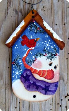Snowman Birdhouse Ornament by CountryCharmers on Etsy Painted Ornaments, Xmas Ornaments, Christmas Decorations, Wood Snowman, Snowman Crafts, Christmas Snowman, Christmas Canvas, Decoupage, Christmas Paintings