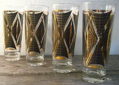 LOVE these!!  Mid Century Modern Glasses / Black Gold / Atomic by ZenDenVintage, $24.00