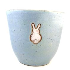 Blue Bunny Vase or  Flower Pot / Hand Made Clay by PatsPottery