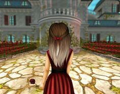 Beutiful sso girl walking to the castle