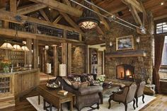 Gorgeous Elegance Rustic Living Rooms Decorating Ideas with Fireplace