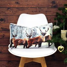 Riva Paoletti Glitter Stag Cushion Cover, Cream, 30 x 50 Cm