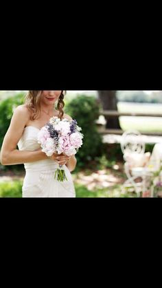 Lavender + peonies + baby's breath bouquet
