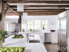 Classic farmhouse kitchen, 8 foot ceilings aren't killing the style in this kitchen. This could work