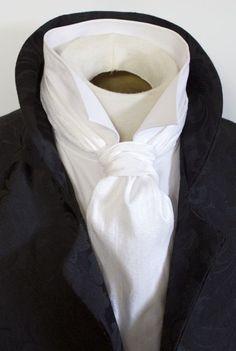 Formal Length Ascot Cravat Tie - Pure White Dupioni SILK
