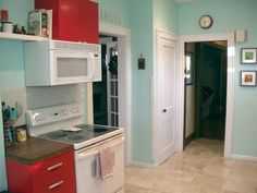 """This paint color is Sherwin Williams   """"aquatint"""".  Sort of love this color to brighten up a dark kitchen"""