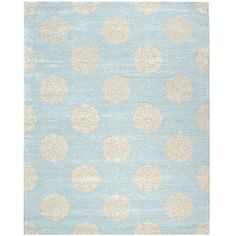 Handmade Soho Medallion Light Blue New Zealand Wool Rug (5' x 8') @Laura Johnson  (going to pin a few fun rugs! this is #1