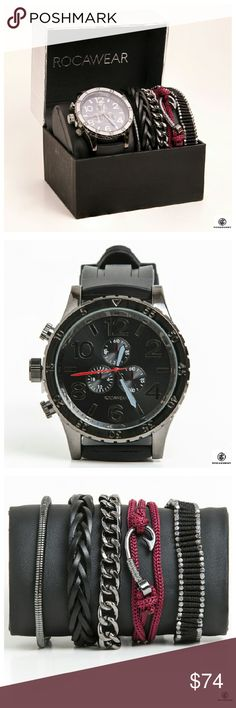 Rocawear Mens Casual Set Watch and Five Bracelets Manufacturer Model: RM5174 New in Box Rocawear Accessories Watches