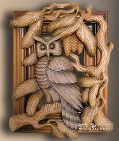 Owl wood carving, a good busy-project for hubby... so he can feel he contributed to my future dream library LOL