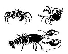 Crustacea Wall Stencils, Reusable - LOBSTER Stencil, Hermit Crab Stencil, CRAB…