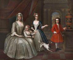 Conversation Piece of the Lomax Family ~ Bartholomew Dandridge Old Portraits, Family Portraits, Clandon Park, 18th Century Dress, Historical Clothing, Female Clothing, Women's Clothing, Period Outfit, Art Uk