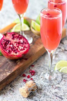 Mexican Pomegranate Mimosas - Orange juice, pomegranate juice, lime juice…