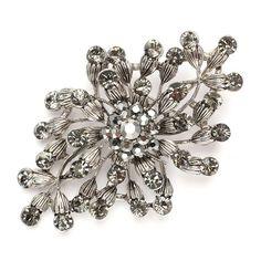 Hematite Wedding Pin with Black Diamond Crystal Blossoms