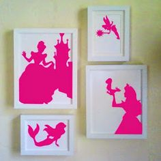 DIY princess silhouette any silhouette Print on colored paper Cut them out Place in frame Disney Princess Silhouette, Diy And Crafts, Crafts For Kids, Do It Yourself Inspiration, Blog Deco, Baby Center, Little Girl Rooms, Room Girls, Girls Bedroom