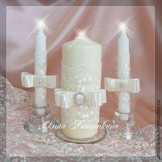 """Свадебные свечи """"Алисия"""" - белый,свечи на свадьбу,свечи семейный очаг"""