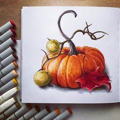 Drawing Ideas Markers New Ideas Zeichenideen Marker Neue Ideen Fall Drawings, Halloween Drawings, Halloween Art, Copic Kunst, Copic Art, Pumpkin Drawing, Pumpkin Art, Pumpkin Sketch, Copic Marker Drawings